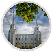 Brigham City Temple Leaves Arch Round Beach Towel