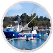 Bright Blue Fishing Ship Round Beach Towel