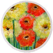 Bright Colored Flowers Shine Round Beach Towel