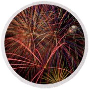 Bright Colorful Fireworks Round Beach Towel