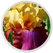 Bright Iris Round Beach Towel