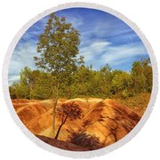 Bright Light On The Badlands Round Beach Towel