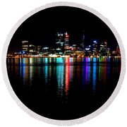 Bright Lights Big City Round Beach Towel