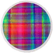 Bright Plaid Round Beach Towel by Louisa Knight
