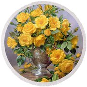 Bright Smile - Roses In A Silver Vase Round Beach Towel