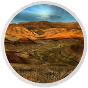 Brightly Painted Hills Round Beach Towel