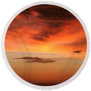 Brilliant Sunrise Over Montevideo Round Beach Towel