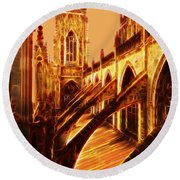 British Christian Cathedral  Round Beach Towel