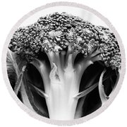 Broccoli On White Background Round Beach Towel by Gaspar Avila