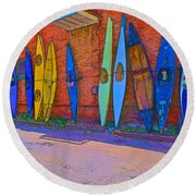 Broken Kayaks  Round Beach Towel