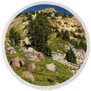 Brokeoff Mountain Round Beach Towel