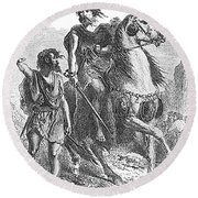 Bronze Age Warrior Round Beach Towel by Photo Researchers