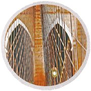 Brooklyn Bridge Arch Round Beach Towel
