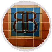 Brooklyn Bridge Station Round Beach Towel