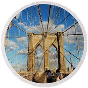 Brooklyn Bridge Summer Round Beach Towel