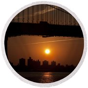 Brooklyn Bridge Sunrise Round Beach Towel