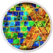Brooklyn Tile Abstract Round Beach Towel