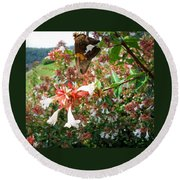 Brown And Yellow Butterfly Round Beach Towel