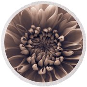 Brown Flower Round Beach Towel