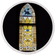 Brown Stained Glass Window Round Beach Towel