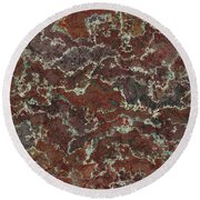 Brown Stone Abstract Round Beach Towel