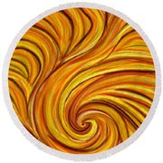 Brown Swirl Round Beach Towel