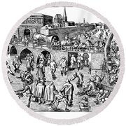 Bruegel: Ice Skaters Round Beach Towel