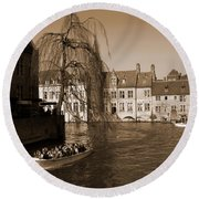 Bruges Canal Round Beach Towel