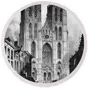 Brussels: Cathedral, 1838 Round Beach Towel
