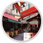 Brussels Restaurant Street - Rue De Bouchers Round Beach Towel