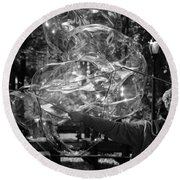 Bubble Blower Of Central Aprk In Black And White Round Beach Towel