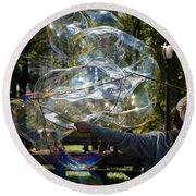 Bubble Blowr Of Central Park Round Beach Towel