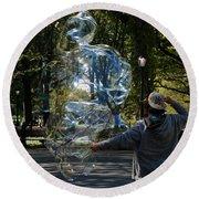 Bubble Boy Of Central Park Round Beach Towel