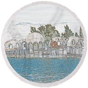 Bubble House In Pencil Skech Round Beach Towel
