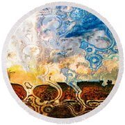 Bubble Landscape Abstract Round Beach Towel