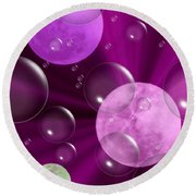Bubbles And Moons - Purple Abstract Round Beach Towel