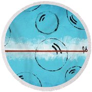 Bubbles Of Energy On A Blue Horizon Round Beach Towel