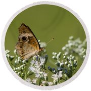 Buckeye Butterfly And Lesser Snakeroot Wildflowers Round Beach Towel