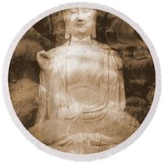 Buddha And Ancient Tree Round Beach Towel