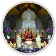 Buddha Statue Round Beach Towel