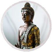Buddha Statue With A Golden Robe Round Beach Towel