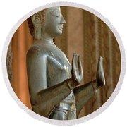 Buddha Vientienne Laos Round Beach Towel