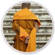 Buddhist Monk 2 Round Beach Towel