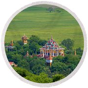 Buddist Temple Round Beach Towel