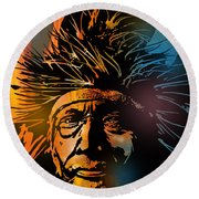Buffalo Headdress Round Beach Towel