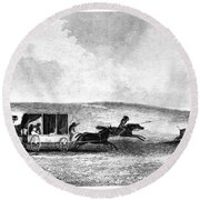 Buffalo Hunt, 1841 Round Beach Towel
