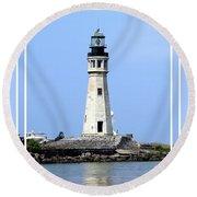Buffalo Main Lighthouse Round Beach Towel
