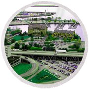 Buffalo New York Waterfront Aerial View Ultraviolet Effect Round Beach Towel