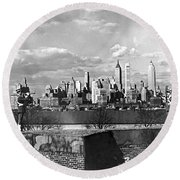 Buglers On Governors Island Round Beach Towel