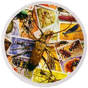 Bugs On Postage Stamps Round Beach Towel